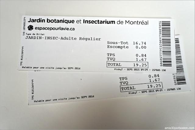 Entradas del Jardín Botánico de Montreal