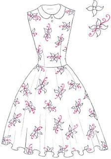 Langkah 7. Cara mudah menggambar Long Dress Motif Bunga