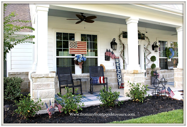 Patriotic Home Decor-4th of July-Welcome Sign-Rocking Chairs- Front Porch-From My Front Porch To Yours