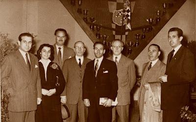 Algunos de los representantes de la Diputación del Match Ayuntamiento de Barcelona - Diputación de Barcelona, 1954