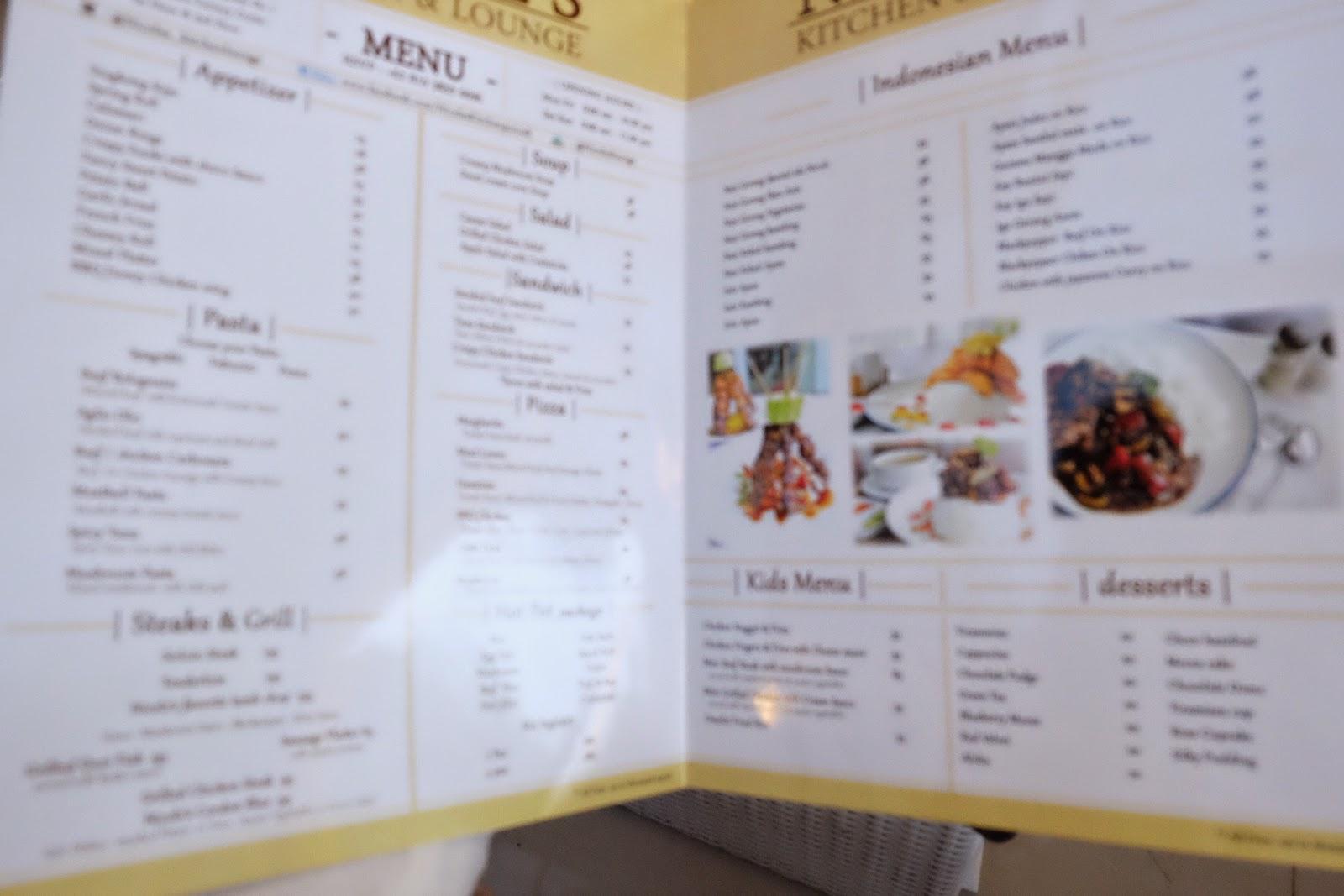 menu makanan di nicole's kitchen