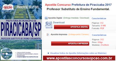 Apostila Prefeitura de Piracicaba Professor substitutos de ensino fundamental.