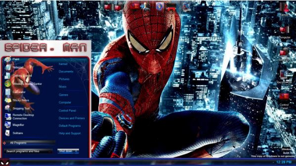 PC SkinPack Spider Man untuk Windows 7