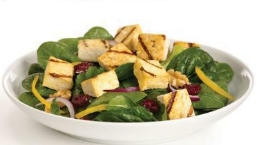 Broiled Tofu Salad with Raspberry Vinaigrette Dressing