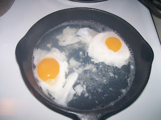 Poaching eggs.