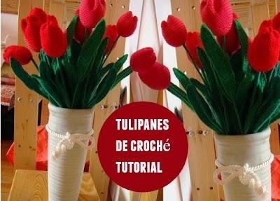 Tulipanes de Crochet como hacerlos. Dia de la Madre