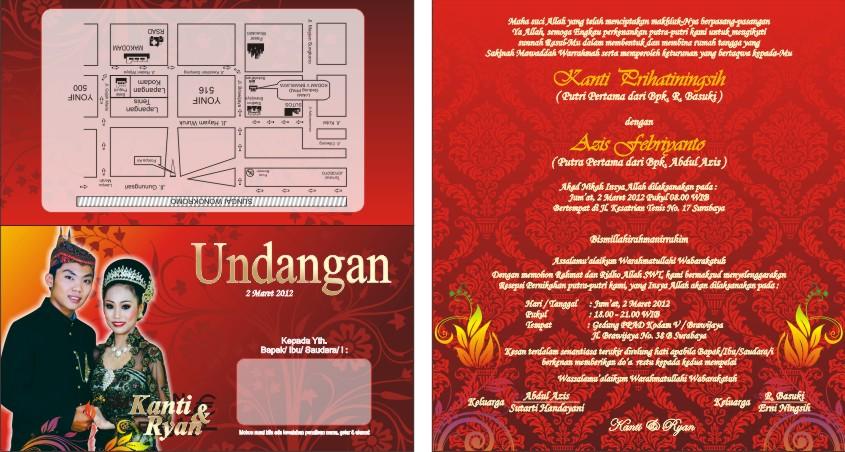 Undangan Pernikahan Motiv Batik Merah Desain Kampungan