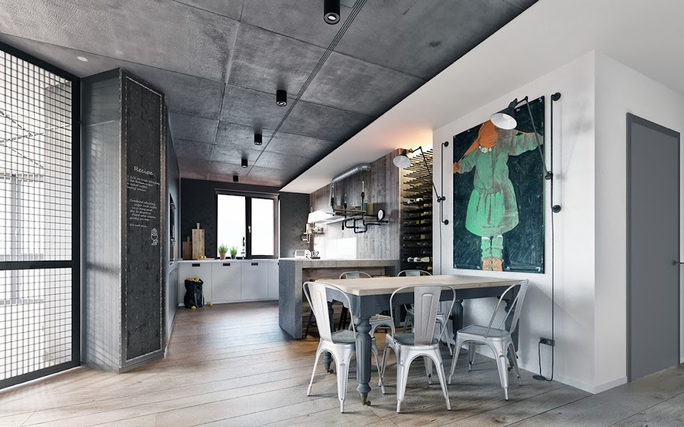 metallic-industrial-dining-room-chairs