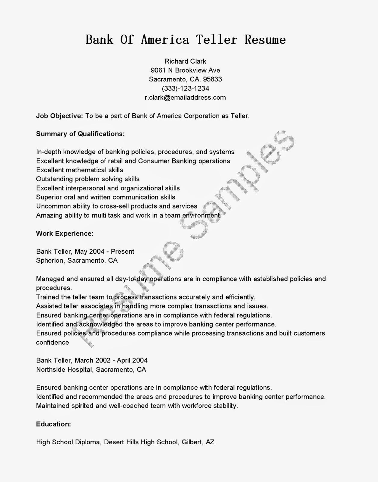 resume for bank teller sample customer service resume resume for bank teller bank teller resume sample monster sample resume resume samples bank of america