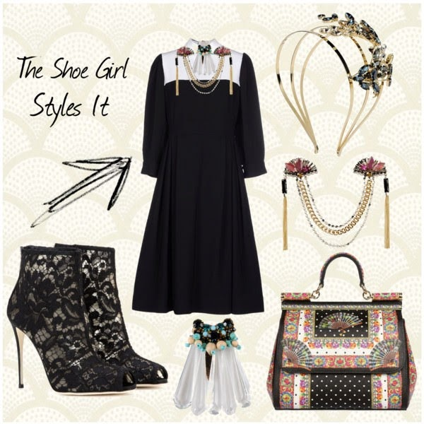 Dolce & Gabbana lace ankle boots polyvore outfit board worn with Moschino dress, jewellery and bag
