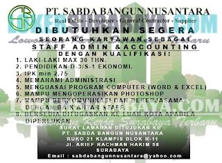 Lowongan Kerja di PT. Sabda Bangun Nusantara Surabaya Terbaru Mei 2019