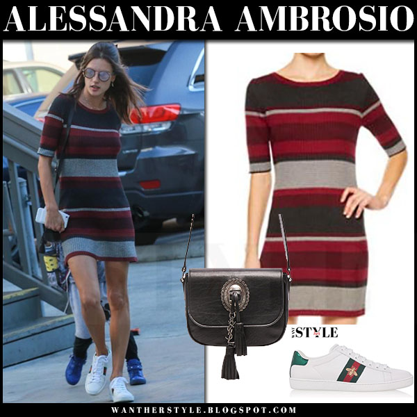 Alessandra Ambrosio in striped red black sanctuary veronique mini dress and white sneakers gucci ace what she wore