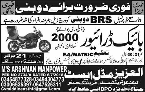 Bike Drivers Jobs in Dubai