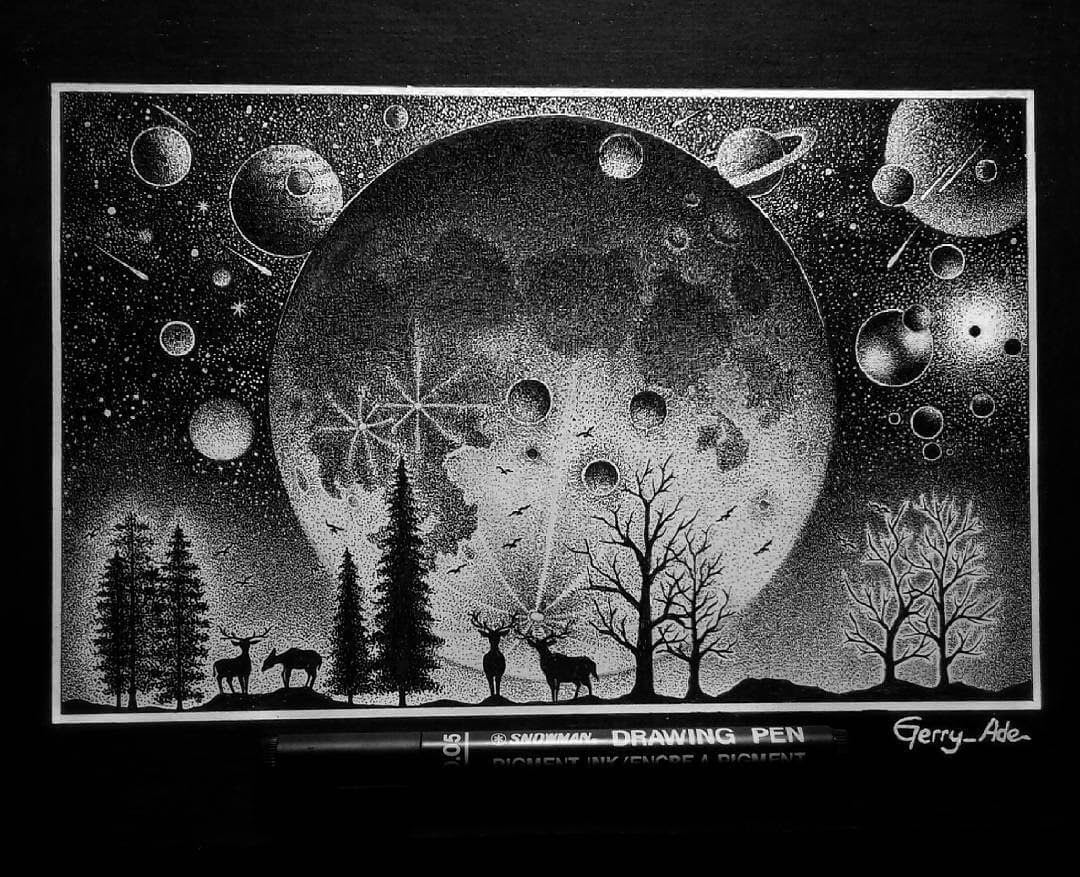 04-Part-of-the-Cosmos-G-A-Yuangga-Fineliner-Stippling-Drawings-www-designstack-co