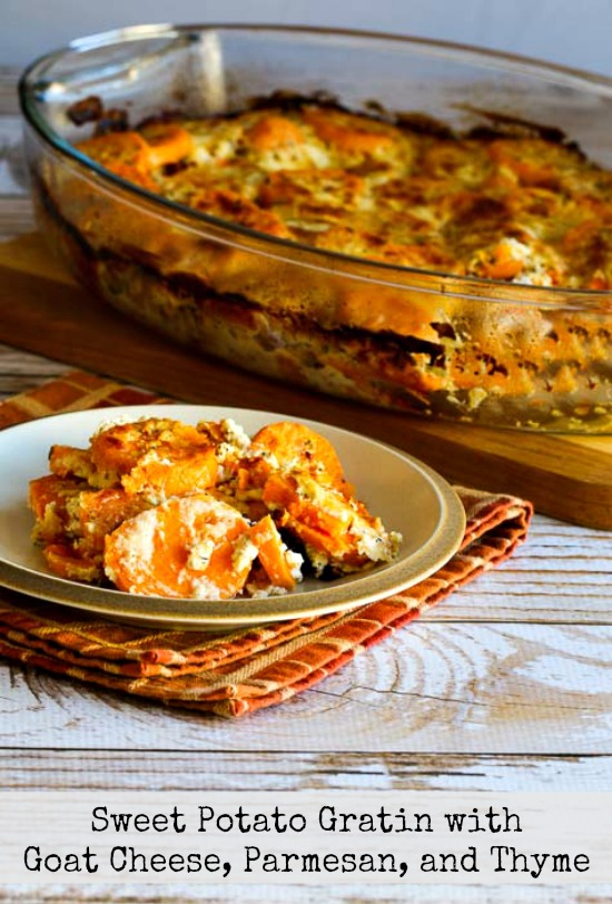 Sweet Potato Gratin with Goat Cheese, Parmesan, and Thyme found on KalynsKitchen.com