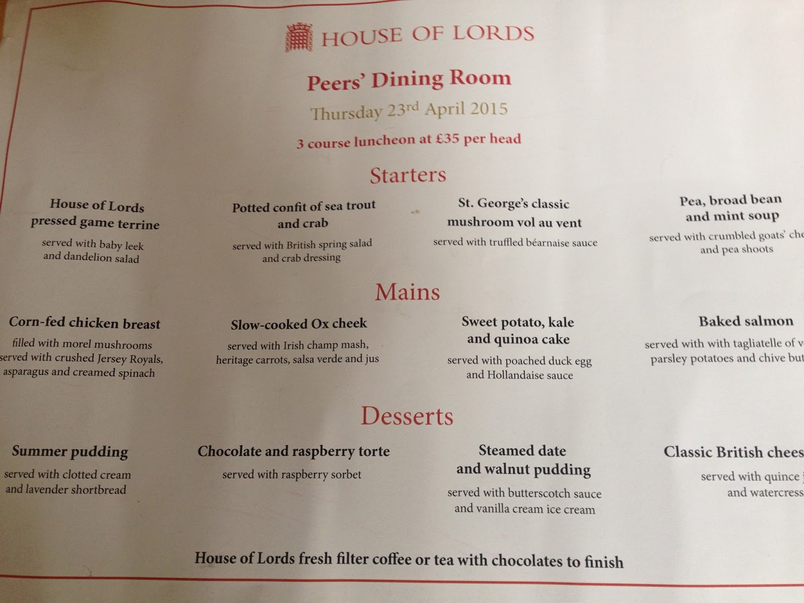 London living it 39 s your london historic lunch in the for Living room menu