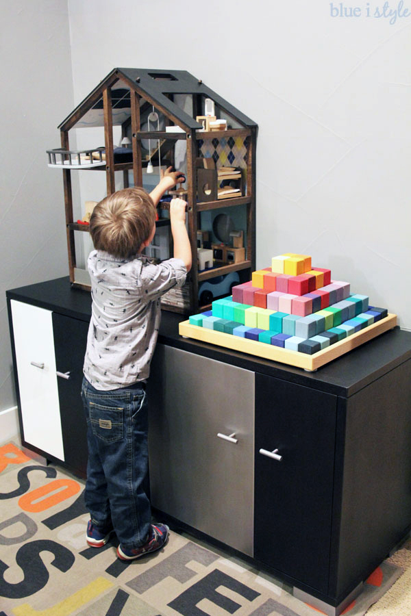 Use a sideboard for toy storage