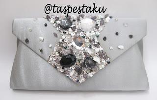 Model Terbaru Tas Pesta AMplop Silver Mewah Elegant Cantik