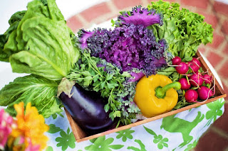 A box of vegetables harvested from a garden