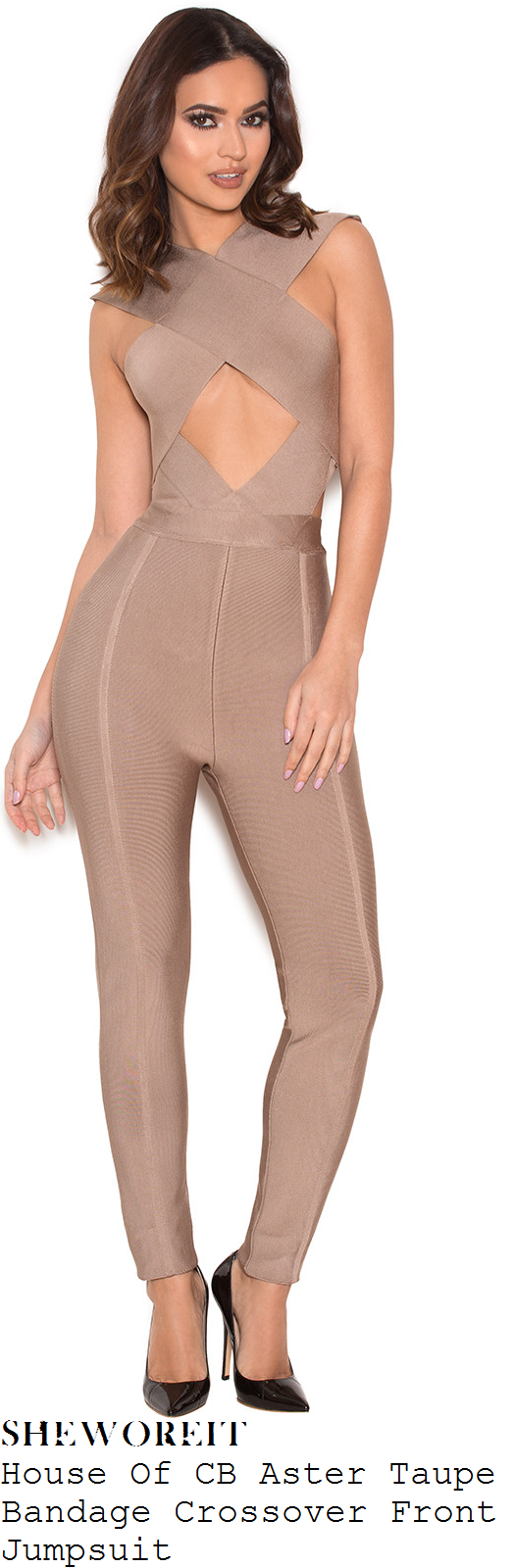 kylie-jenner-house-of-cb-aster-taupe-beige-sleeveless-cross-over-front-cut-out-detail-bodycon-bandage-jumpsuit