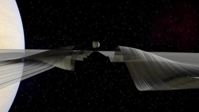 Daphnis e as ondulações na divisão de Keeler - Kevin Gill