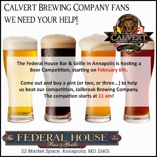 **Updated Date** Federal House beer competition is now February 6th!