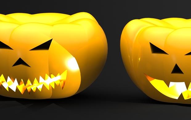 detalle de calabazas de halloween en solidworks