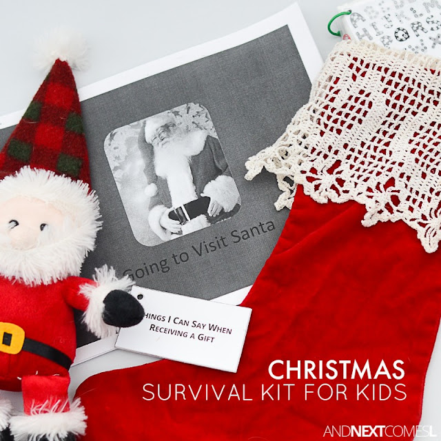 Christmas calm down kit for kids with autism, sensory processing disorder, or anxiety - includes free printable social stories about Christmas and other calm down ideas from And Next Comes L