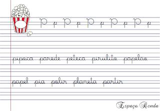 caderno de caligrafia letra P