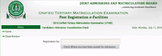 UTME list of admitted candidates and institutions