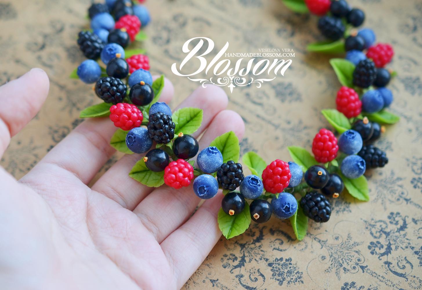 малина,вишня, смородина, колье с ягодами,handmade, fimo, necklace, berries, raspberry,