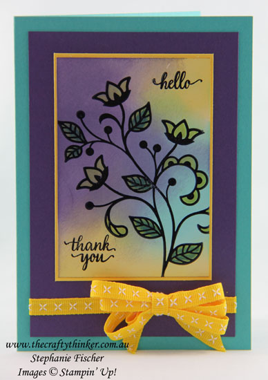 Sponged background, Flourishing Phrases, Glossy White Cardstock, #thecraftythinker, Stampin Up Australia Demonstrator, Stephanie Fischer, Sydney NSW