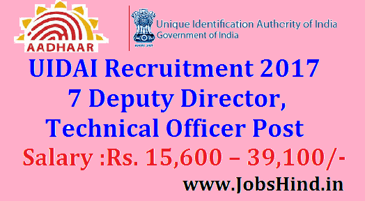 UIDAI Recruitment 2017