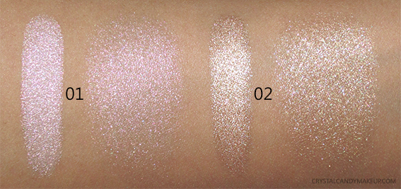 Make Up For Ever MUFE Pro Light Fusion Luminizers Highlighters 01 Golden Pink 02 Gold Swatches Medium Skintone NC30