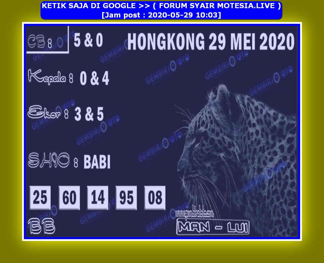 Kode syair Hongkong Jumat 29 Mei 2020 76