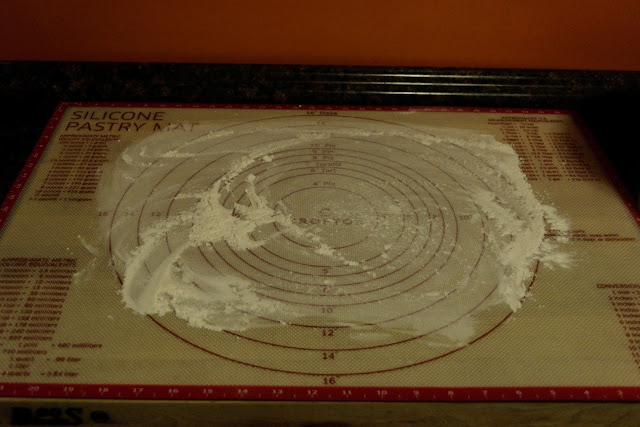 A floured area on the counter.