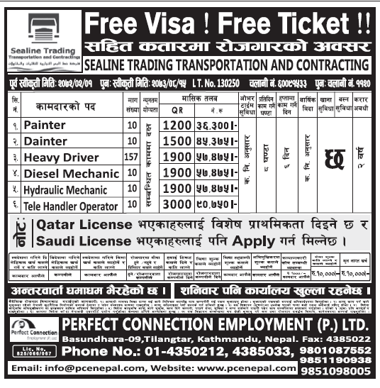Free Visa Free Ticket Jobs in Qatar for Nepali, Salary Rs 57,475