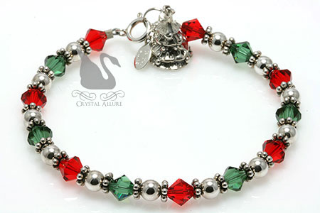Swarovski Crystal Holiday Tree Charm Bracelet (B013)