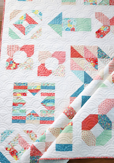 Charming Baby Sew Along sampler quilt sewn by Andy of A Bright Corner - quilting is Rolling Hills longarm design by 627 Handworks