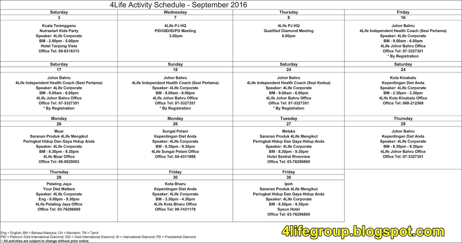 foto Jadual Aktiviti Bulanan September 2016 4Life Malaysia