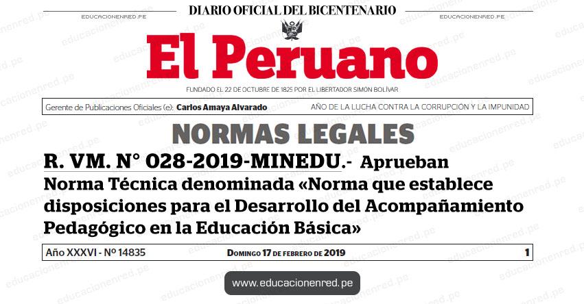 R. VM. N° 028-2019-MINEDU - Aprueban Norma Técnica denominada «Norma que establece disposiciones para el Desarrollo del Acompañamiento Pedagógico en la Educación Básica» www.minedu.gob.pe