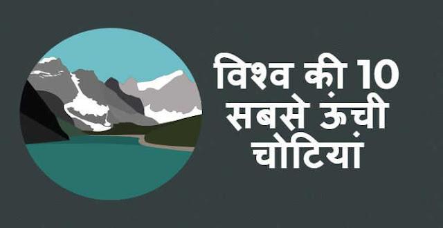विश्व की 10 सबसे ऊंची चोटियां - Top 10 Highest Mountains in the World in Hindi