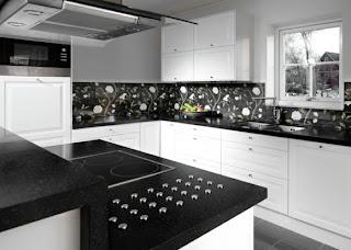 Cocina de color blanco y negro