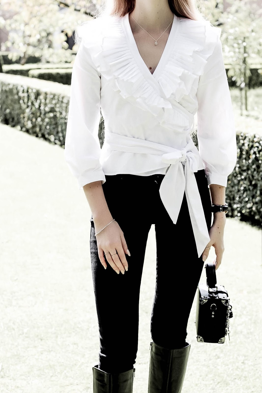 Topshop White Wrap Style Pleated Ruffle Shirt