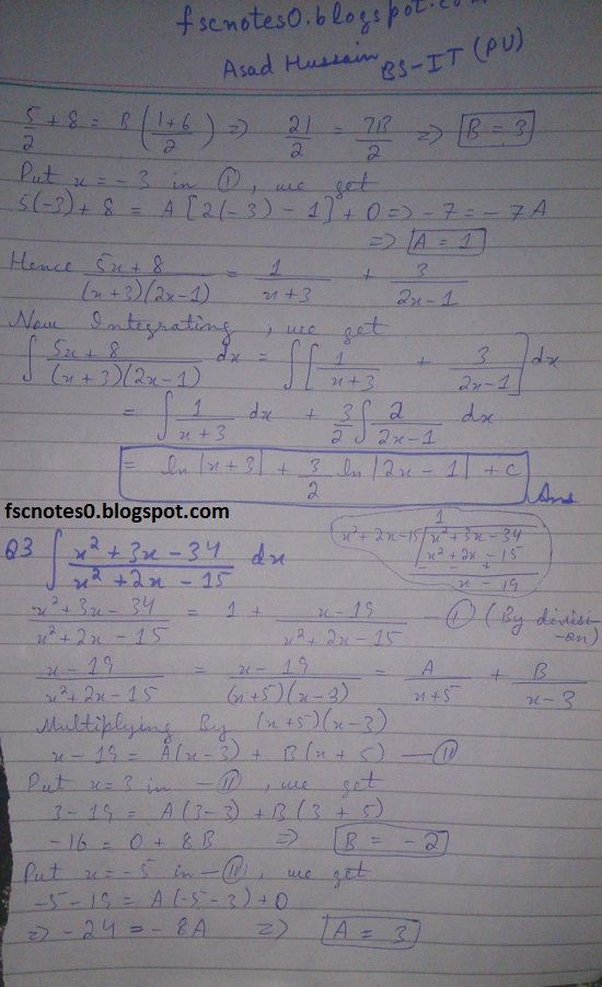 FSc ICS Notes Math Part 2 Chapter 3 Integration Exercise 3.5 question 1 - 11 by Asad Hussain 1