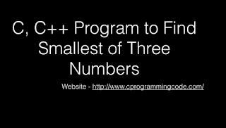 Program to Find Smallest of three Numbers