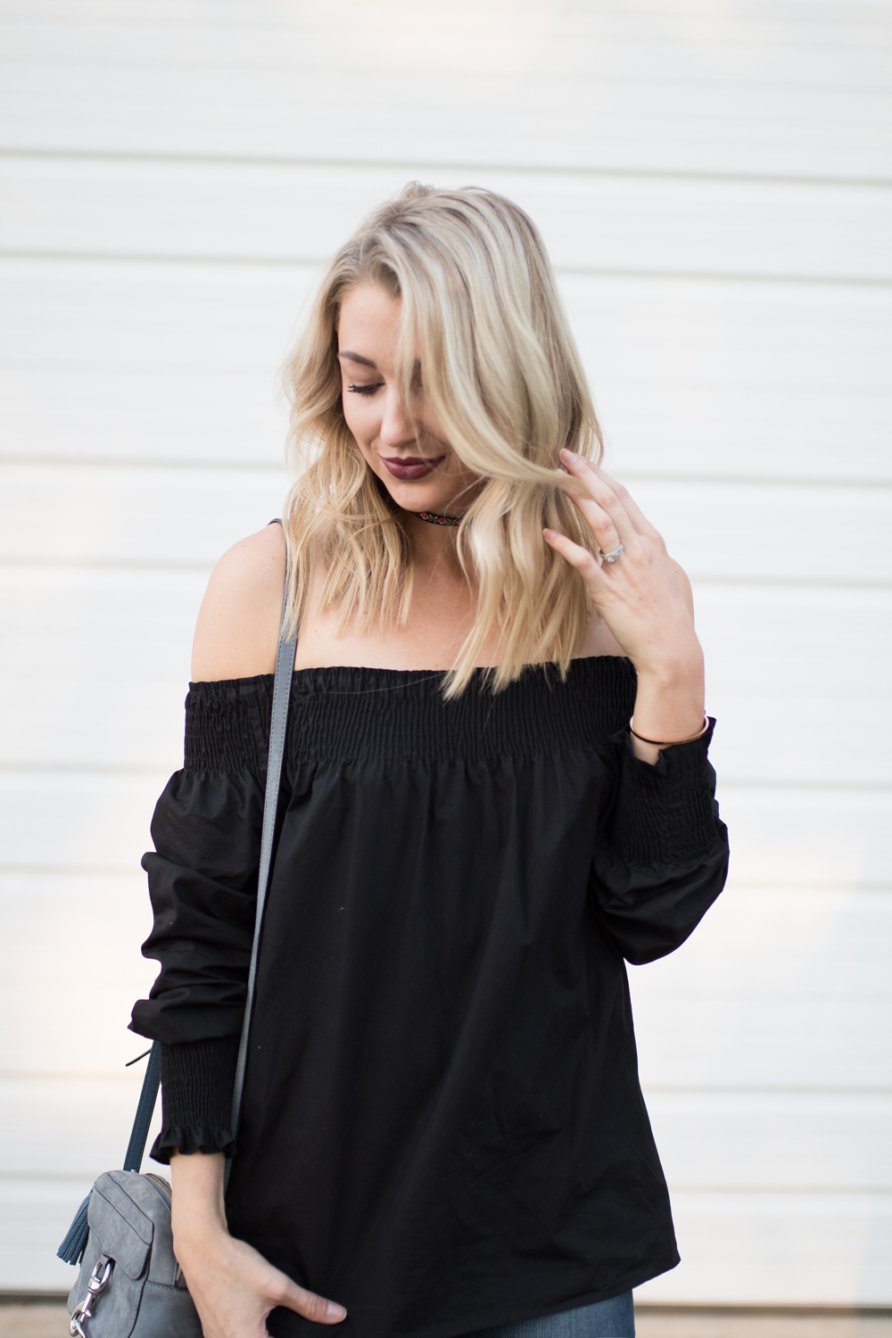 Black off-the-shoulder top from Zara