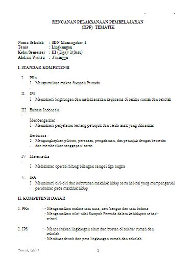 RPP Tematik Kelas 3 SD Semester 1 dan 2