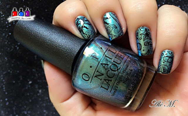 OPI,This Color's Making Waves, Hawaii Collection 2015, Sugar Bubbles, SB031, DRK Nails, Extra Black, Teal, Carimbado, Alê M.