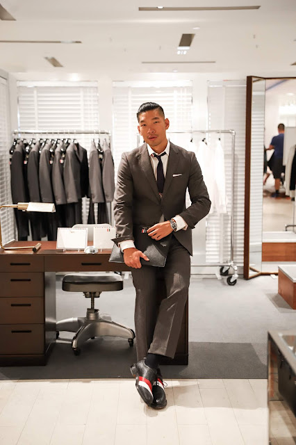 Leo Chan wearing Thom Browne outfit at Barneys | Asian Male Blogger and Model